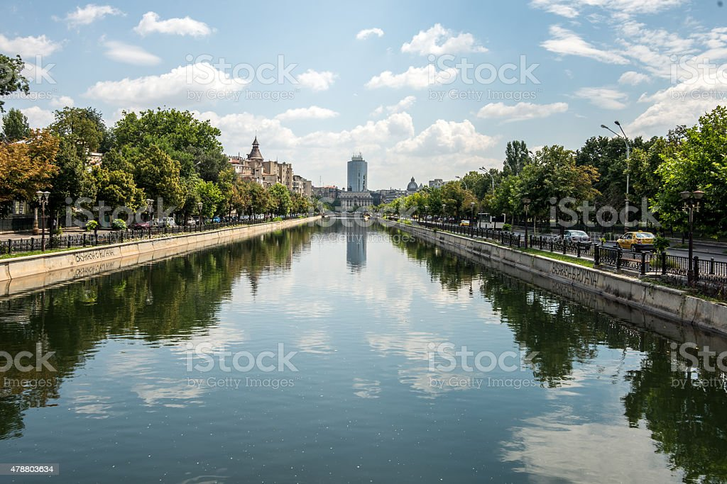 Dambovita river, Bucharest stock photo
