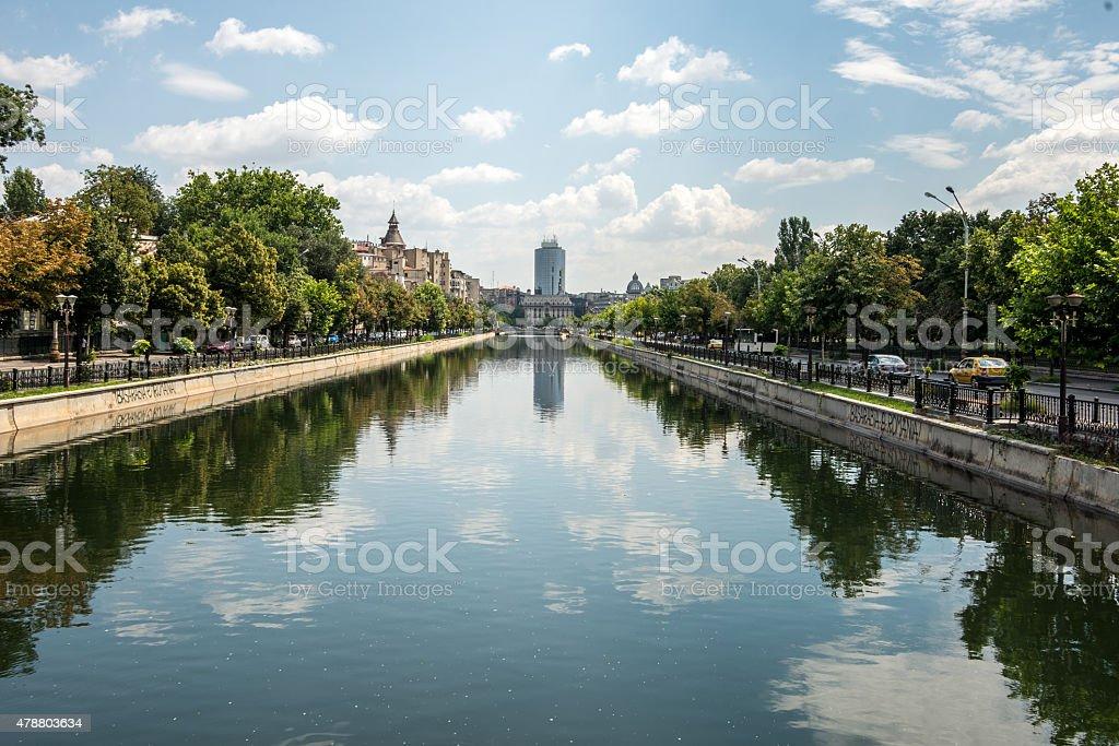 Dambovita river, Bucharest stock photo