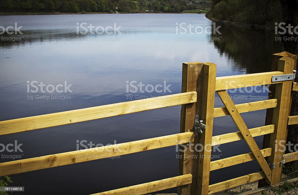 Damflask reservoir fence and gate stock photo