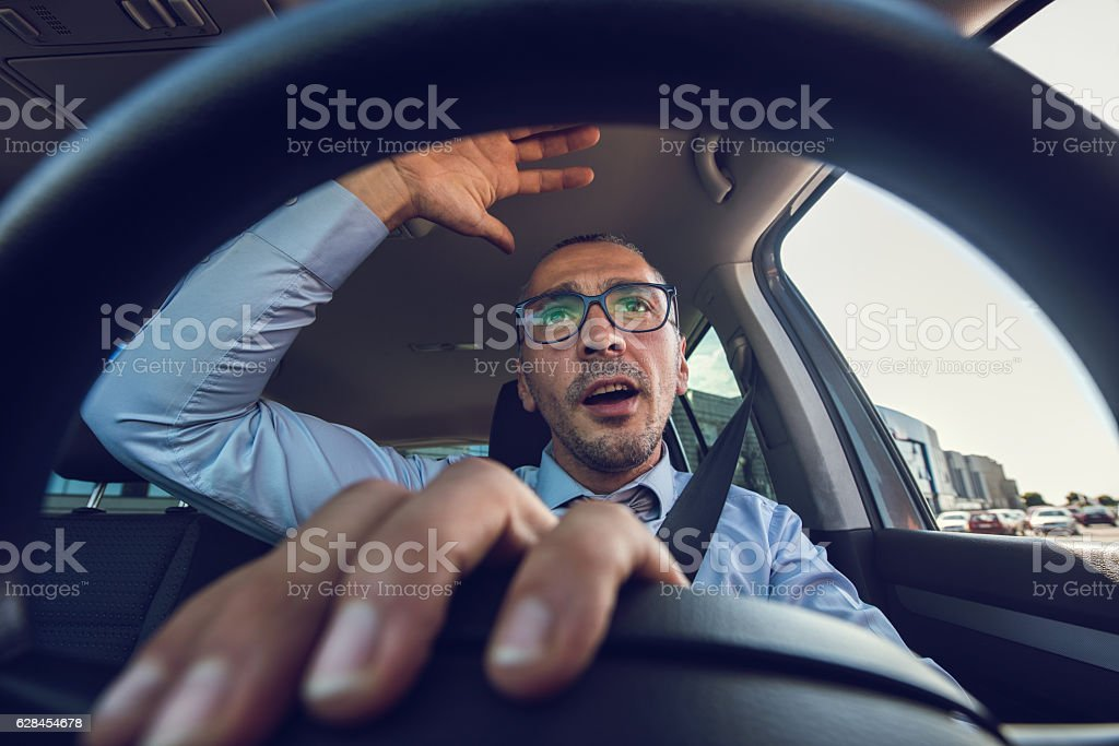 Damn traffic jam! stock photo