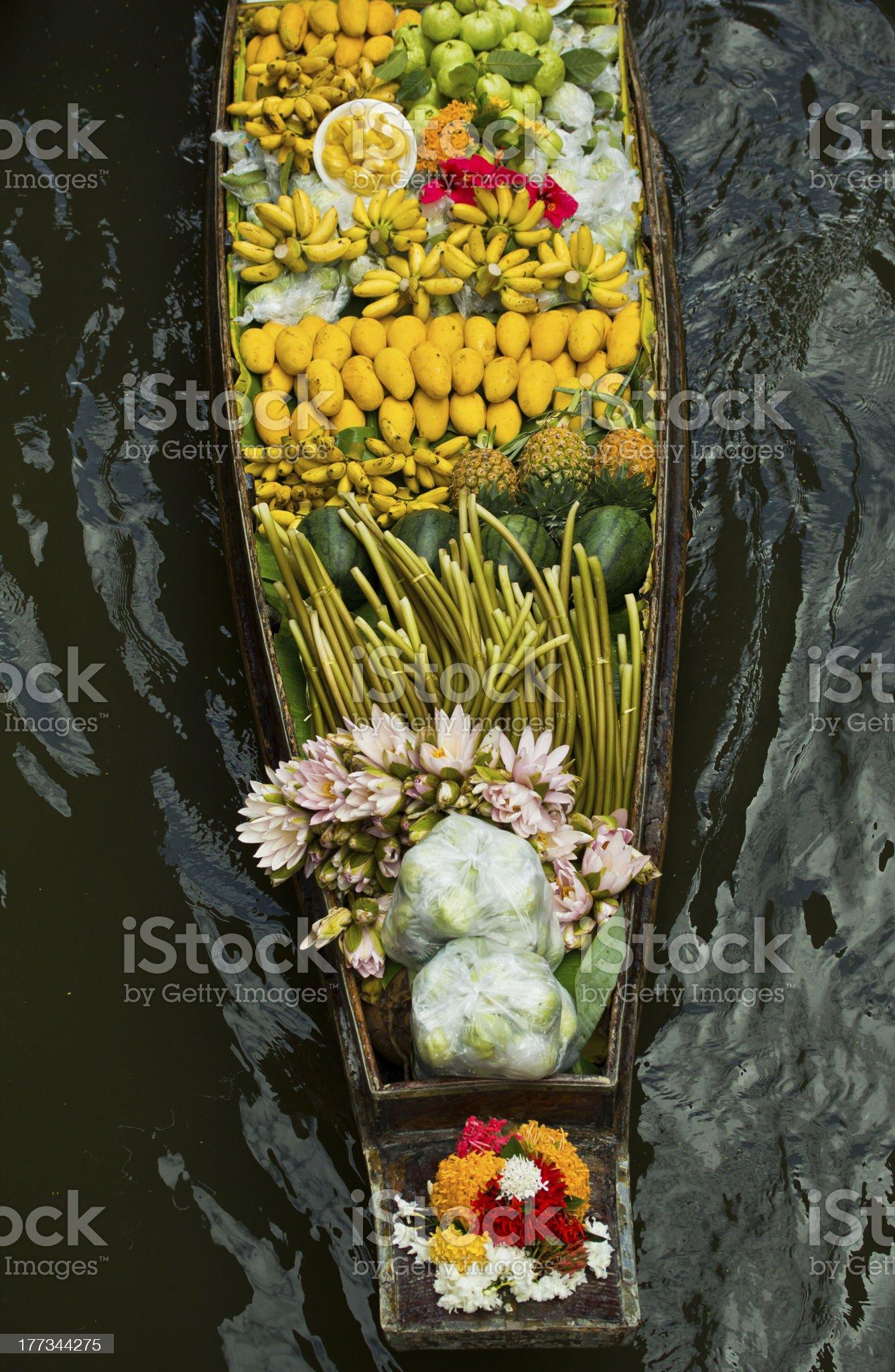 Damnoen Saduak Floating Market near Bangkok in Thailand royalty-free stock photo