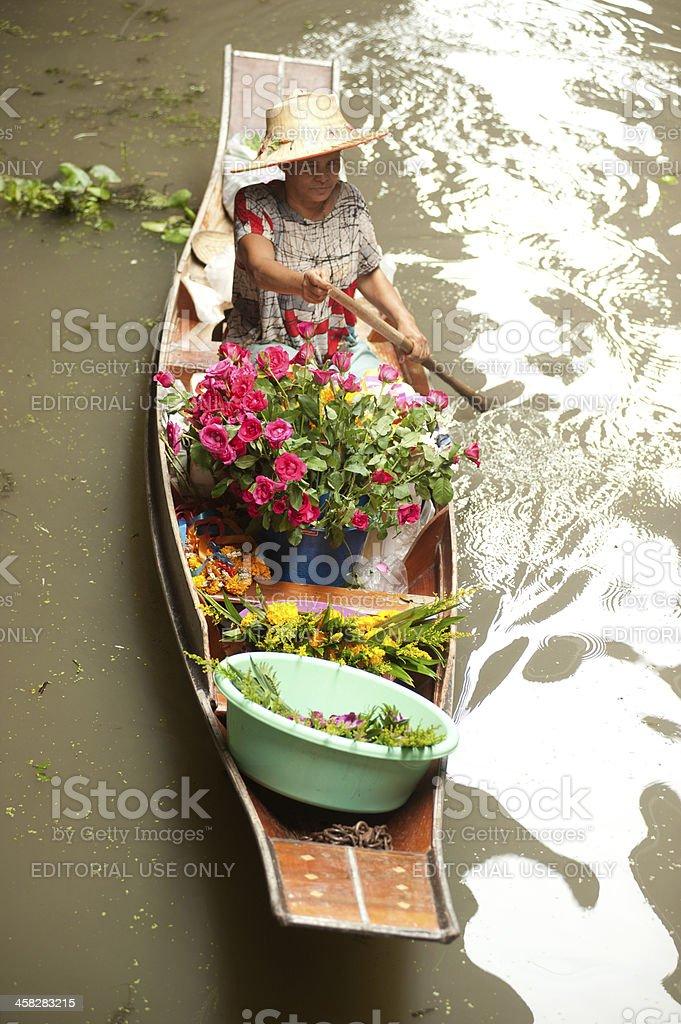 Damnuan Saduak floating market in Middle of Thailand. royalty-free stock photo