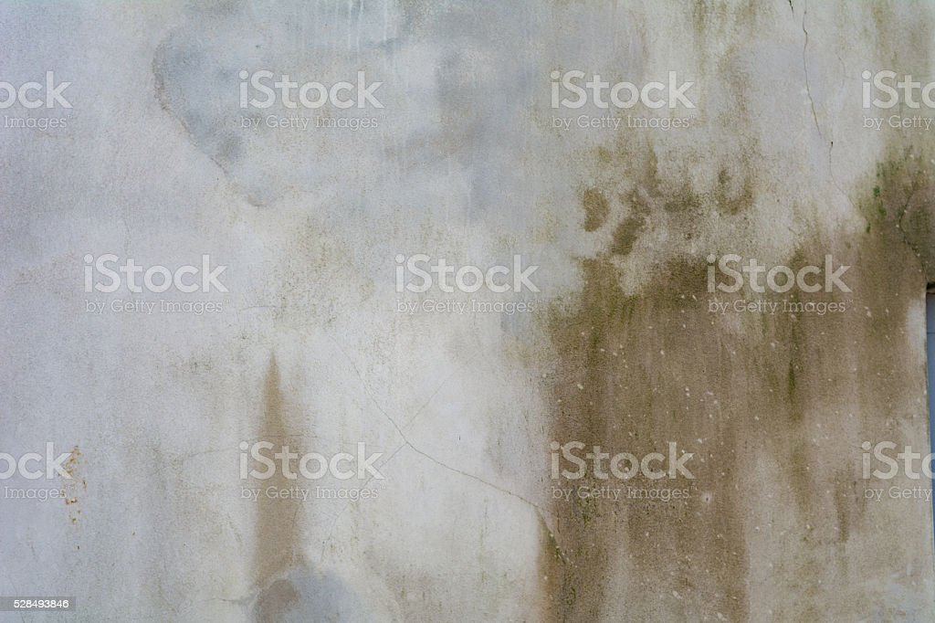 Damp outer wall with stain stock photo