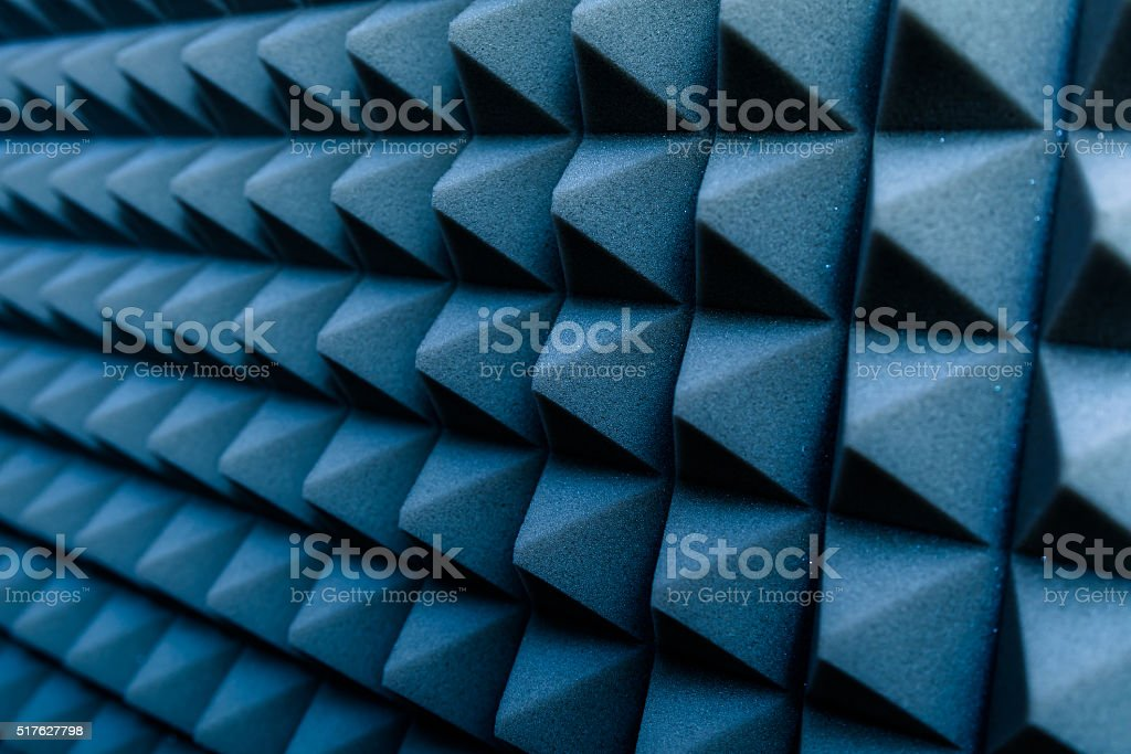 Dampening acoustical foam on recording studio wall stock photo