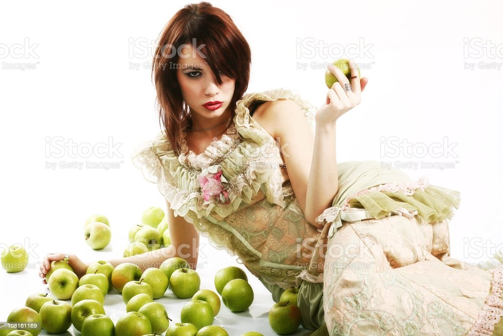 Damsel with Apples royalty-free stock photo