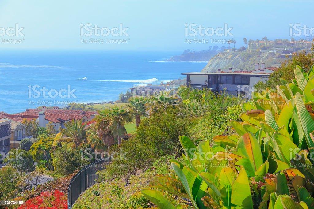Dana Point,California lush cliffs,Pacific Ocean,homes (P) stock photo