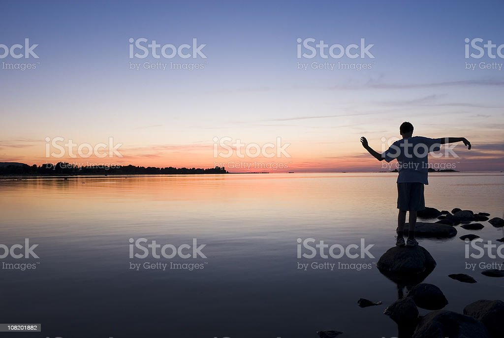 Dance at sunset royalty-free stock photo