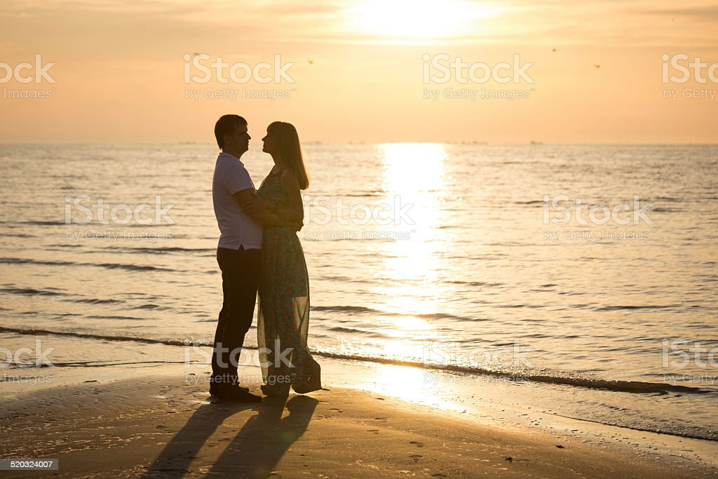 Dance at sunset. royalty-free stock photo