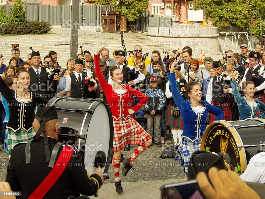Dance during a pipes show stock photo