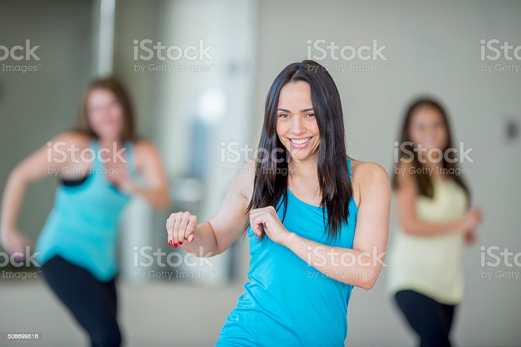 Dance Fitness at the Gym stock photo