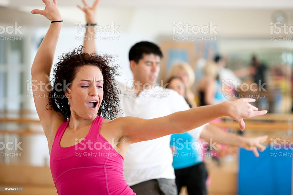 Dance fitness group stock photo