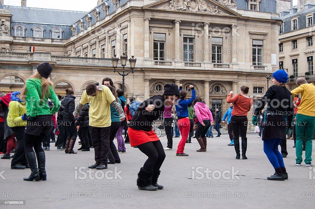 Dance flash mob at Palais Royal square in Paris stock photo