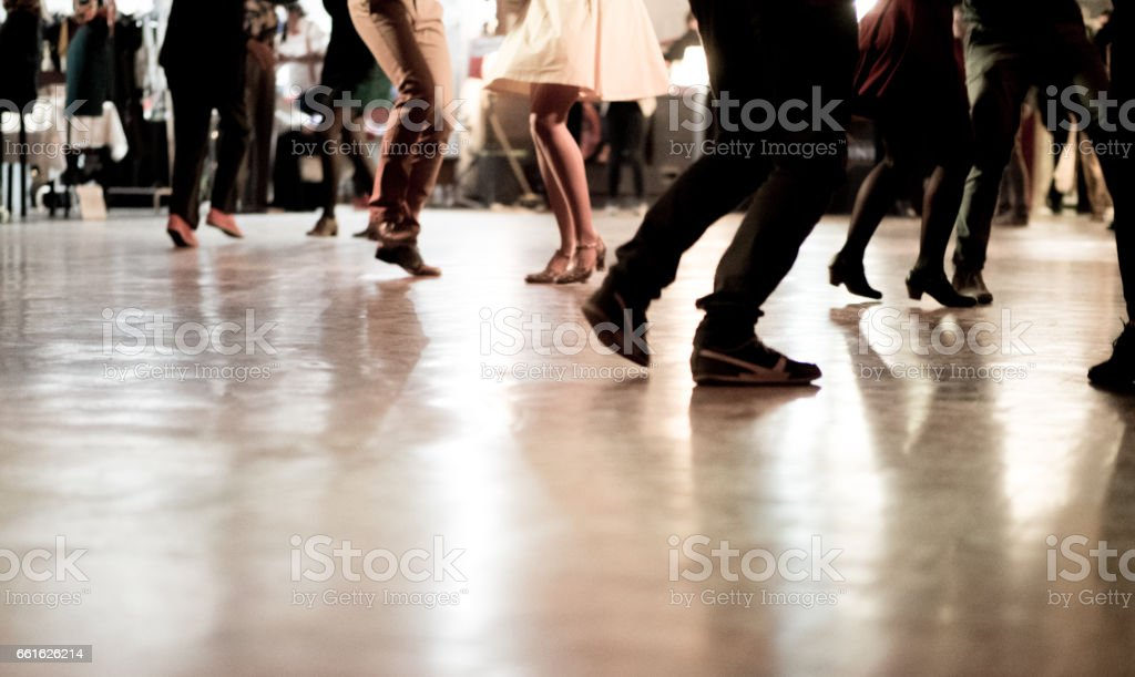 Dance hall with swing dancers stock photo