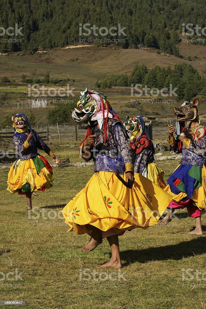 Dance of the Masks in Bhutan royalty-free stock photo