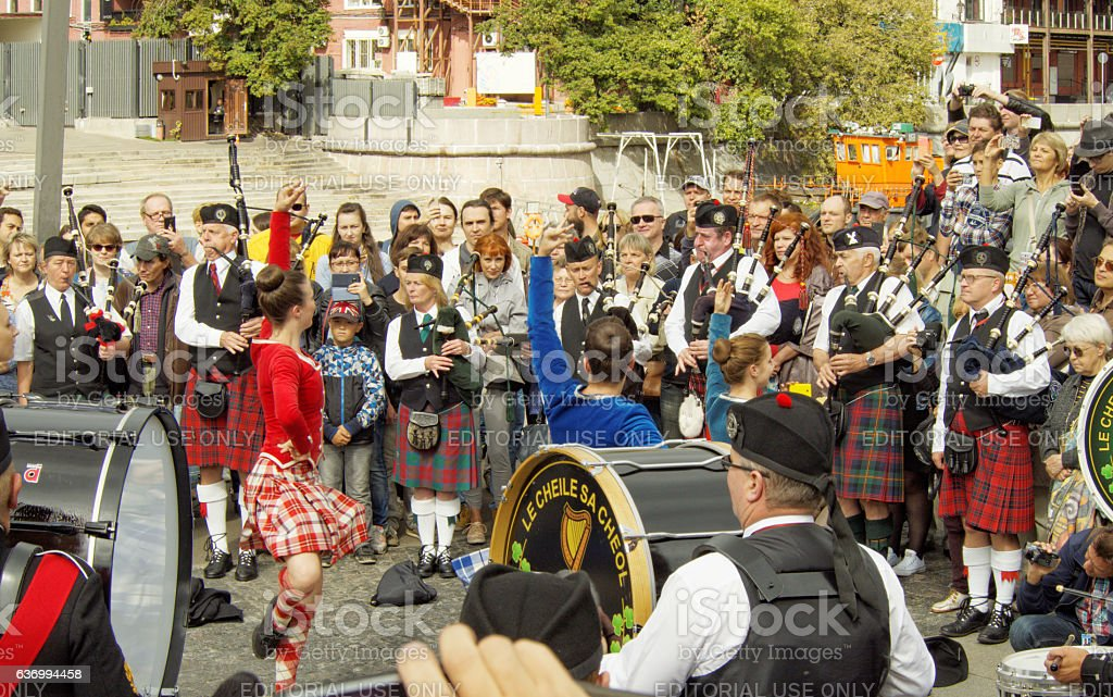 Dance on the pipes show stock photo