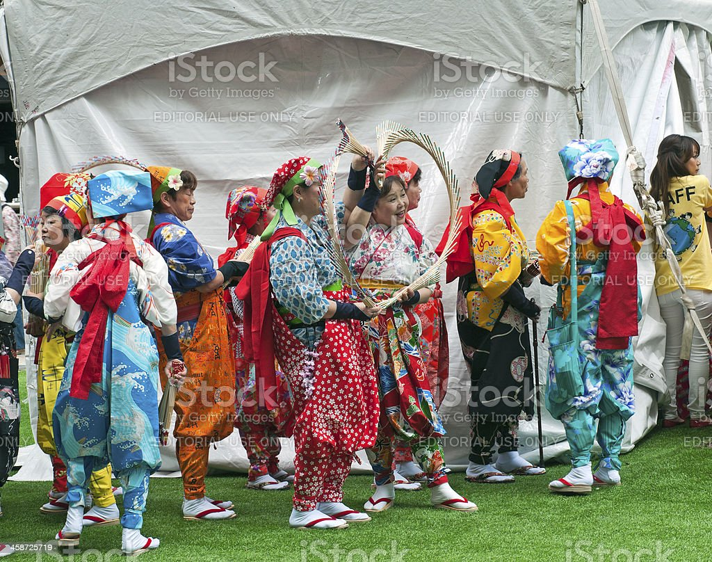 Dance troupe in traditional clothing at festival on Oahu royalty-free stock photo