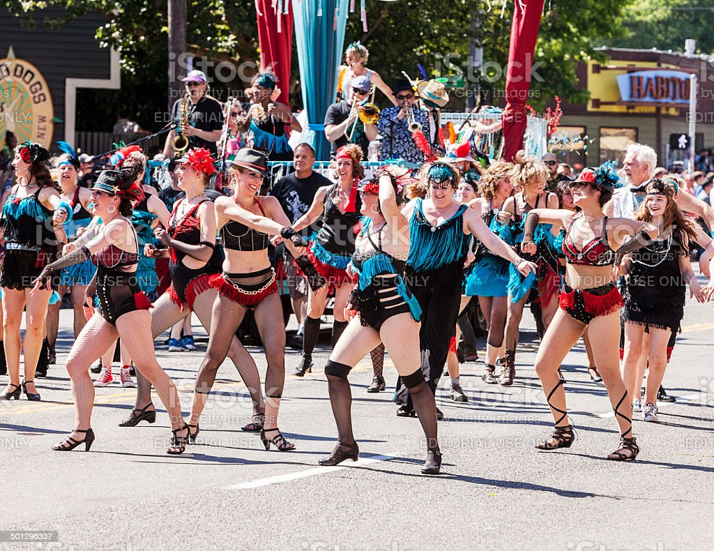 Dance Troupe Performs In Parade stock photo