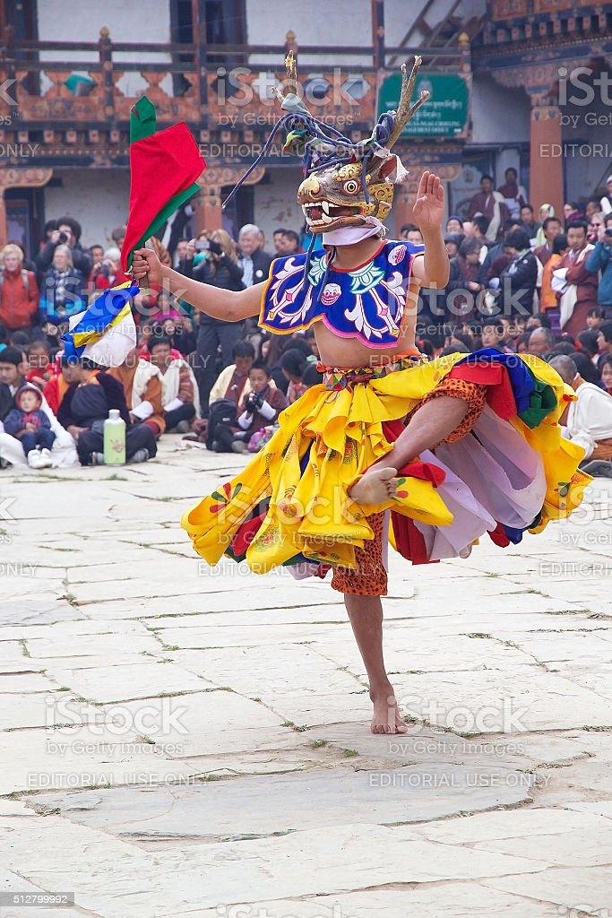 Dancer at the Gangtey Monastery, Gangteng, Bhutan stock photo