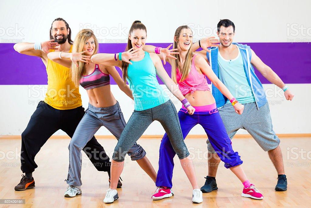 Dancer at Zumba fitness training in dance studio stock photo