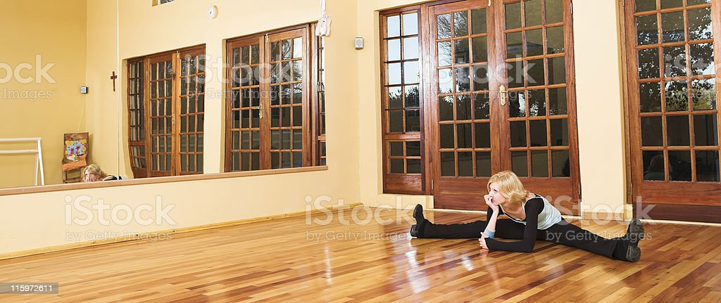 Dancer doing splits royalty-free stock photo