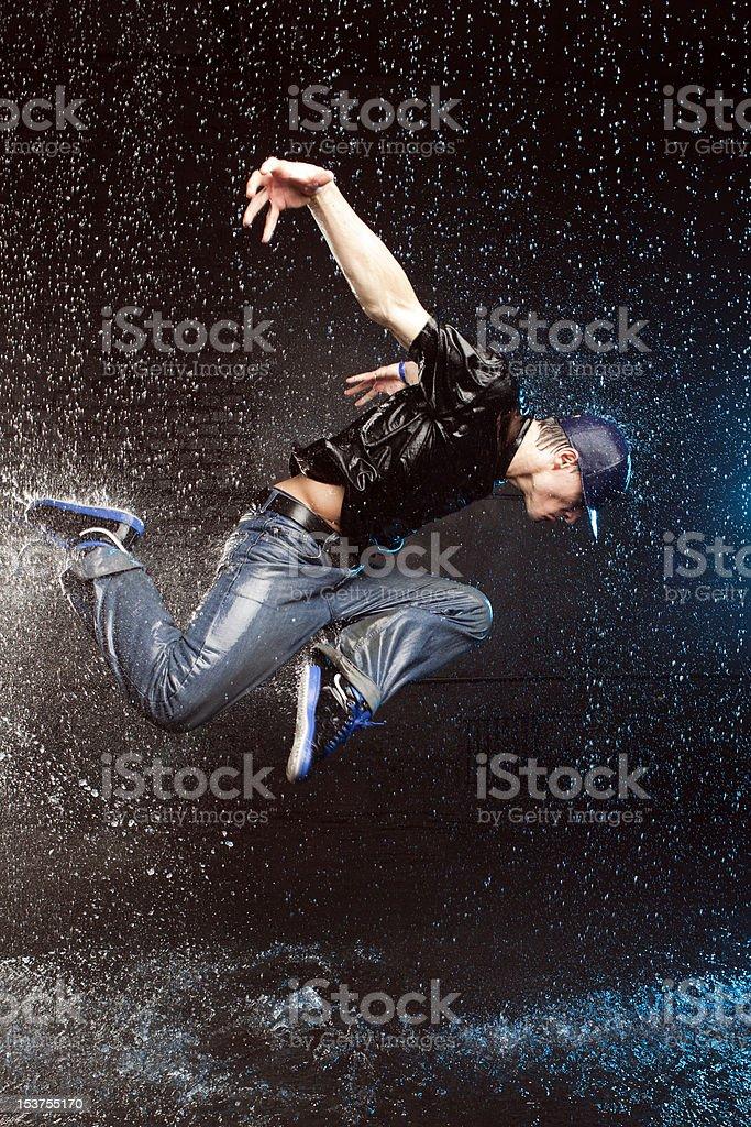 Dancer in aqua studio royalty-free stock photo