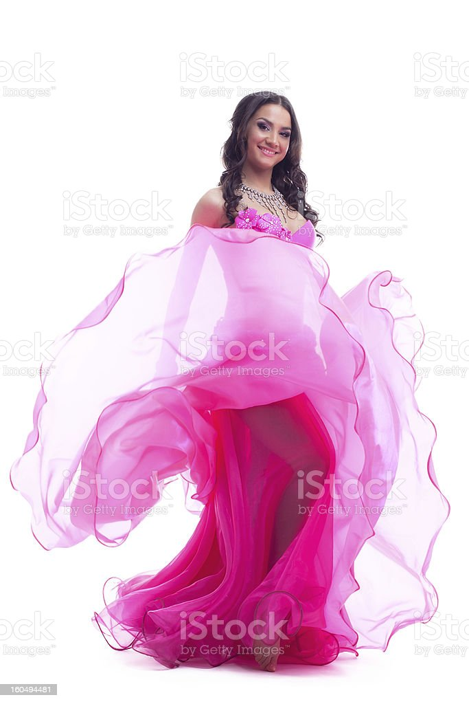 Dancer in east costume performing oriental dance royalty-free stock photo