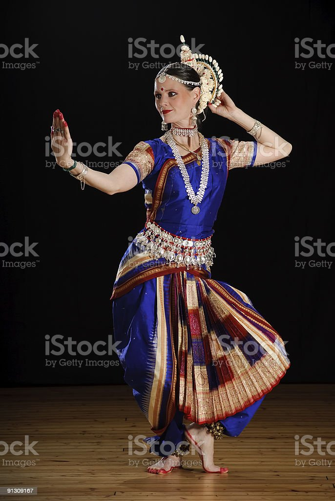 Dancer in Indian traditional costume stock photo