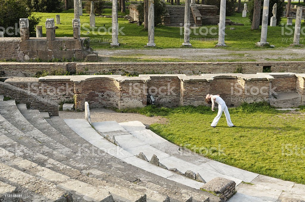 Dancer In The Ancient Theater. stock photo