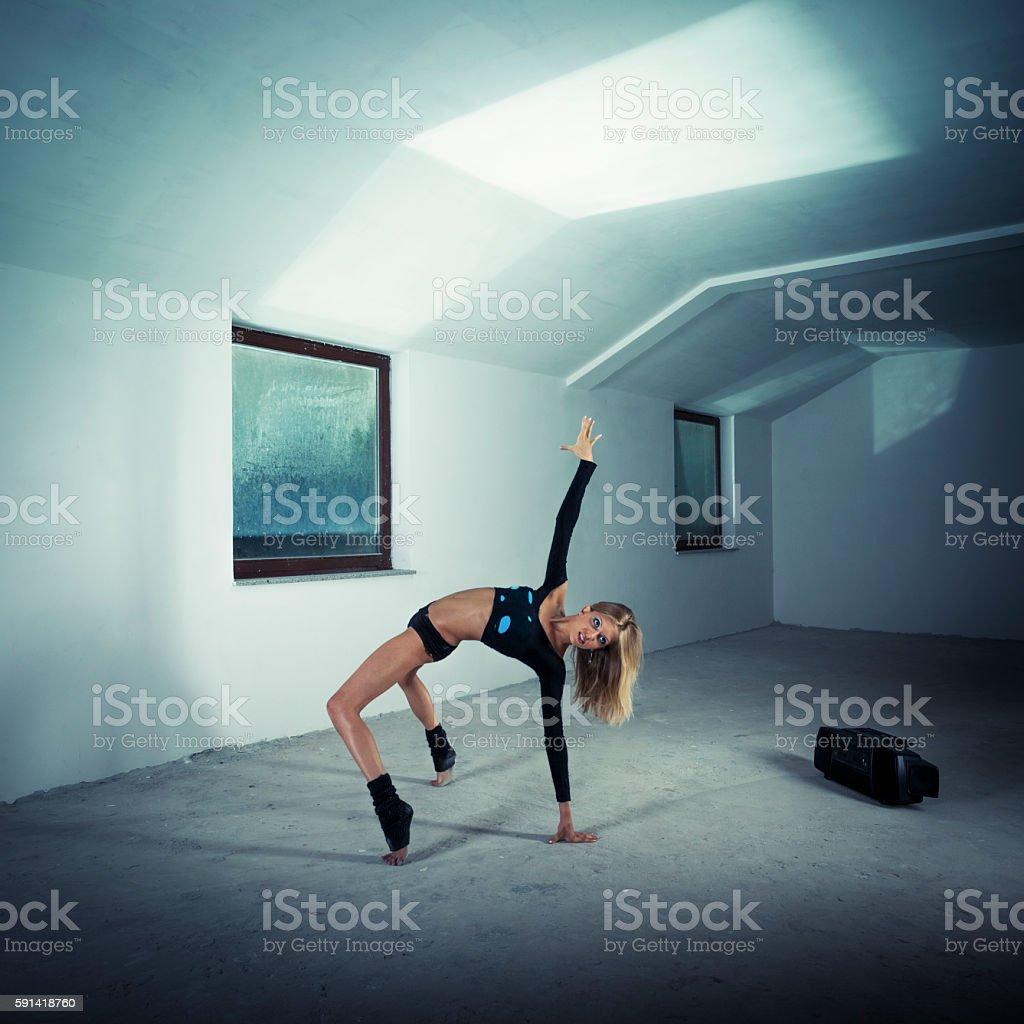 Dancer in the attic stock photo