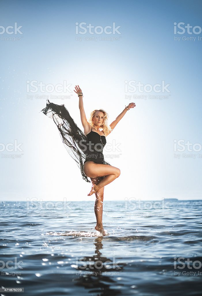 Dancer in the ocean royalty-free stock photo