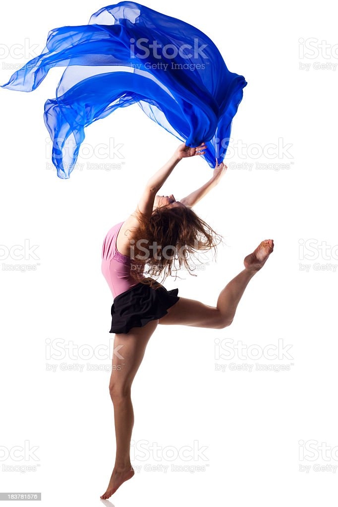 Dancer jump on white background with blue fabric royalty-free stock photo