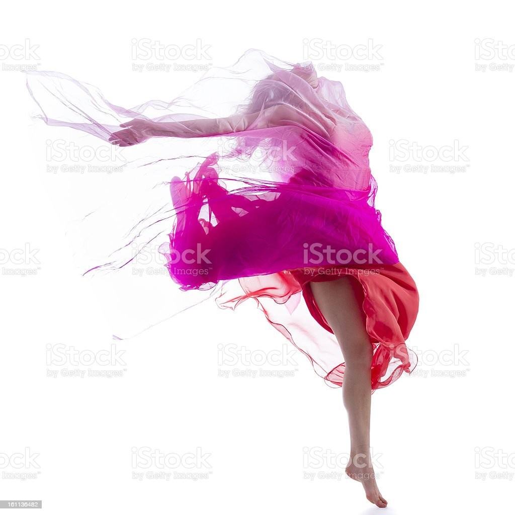 Dancer jump on white background with pink fabric stock photo
