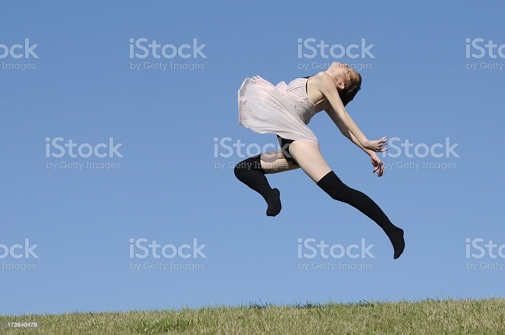 Dancer Jumping into the Sky royalty-free stock photo