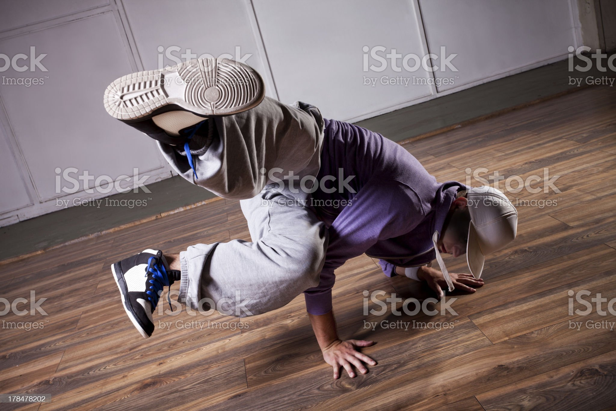 Dancer making breakdance move royalty-free stock photo