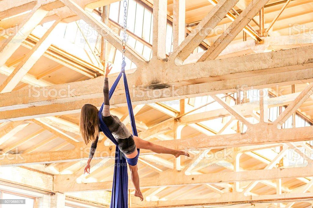 Dancer on Aerial Silk stock photo