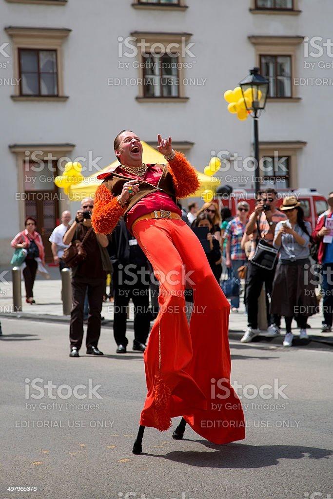 Dancer on stilts in Vienna stock photo