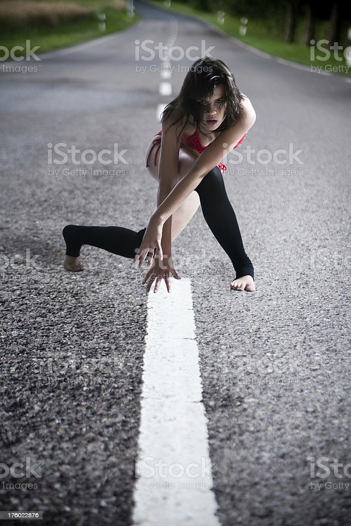 Dancer on the Road royalty-free stock photo