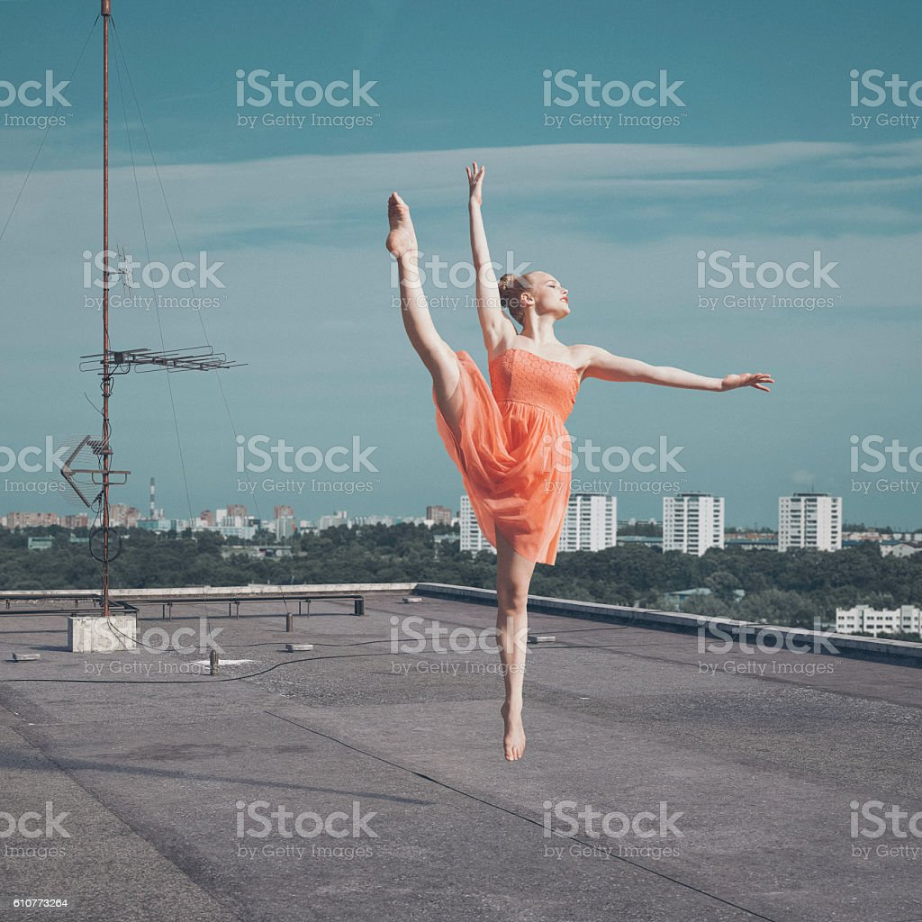 Dancer on the roof stock photo
