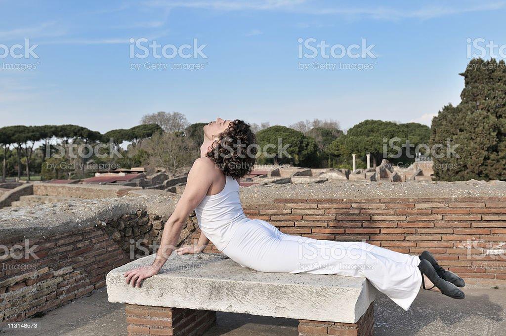 Dancer Pose On Bench stock photo