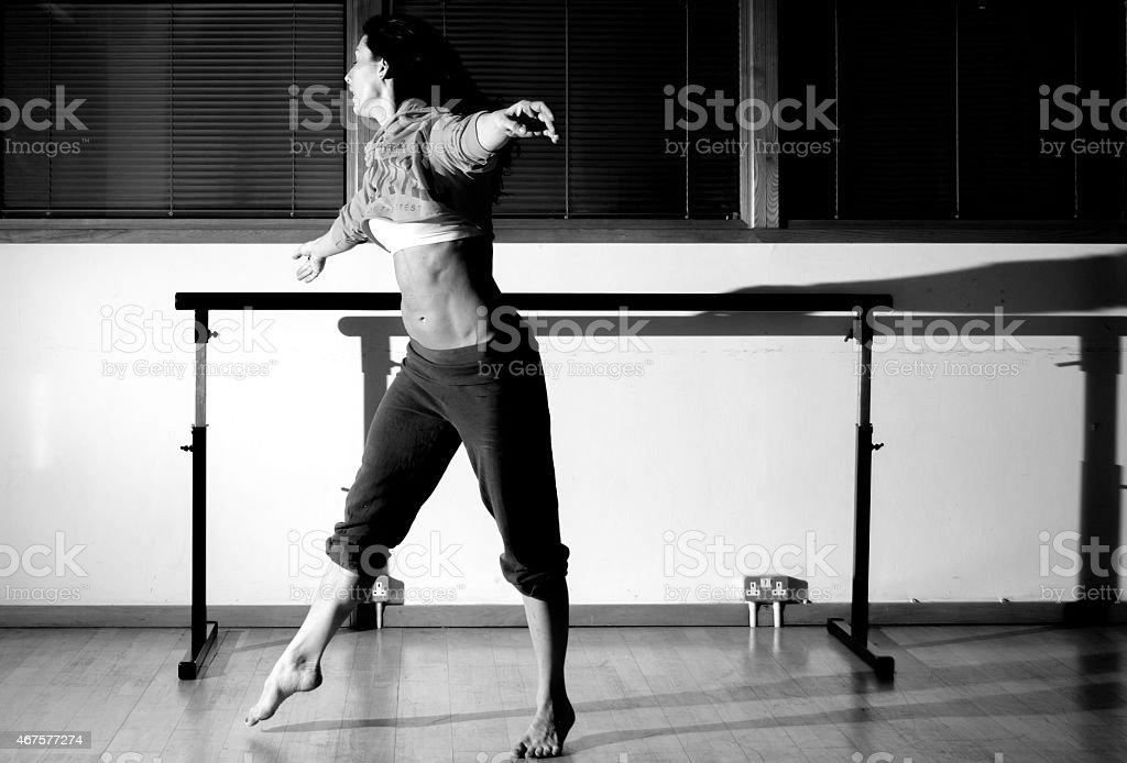 Dancer Rehearsing Ballet stock photo
