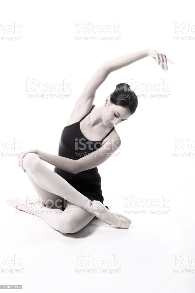 Dancer stretching bw royalty-free stock photo
