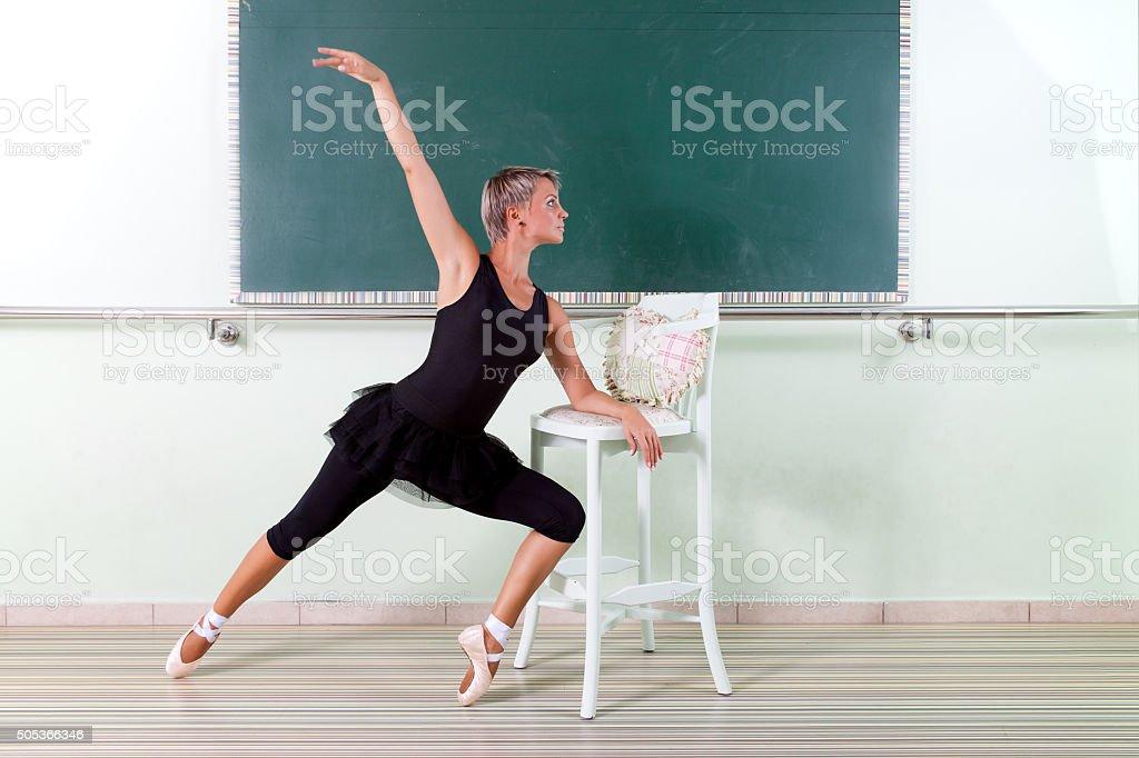 Dancer training in a dance studio stock photo