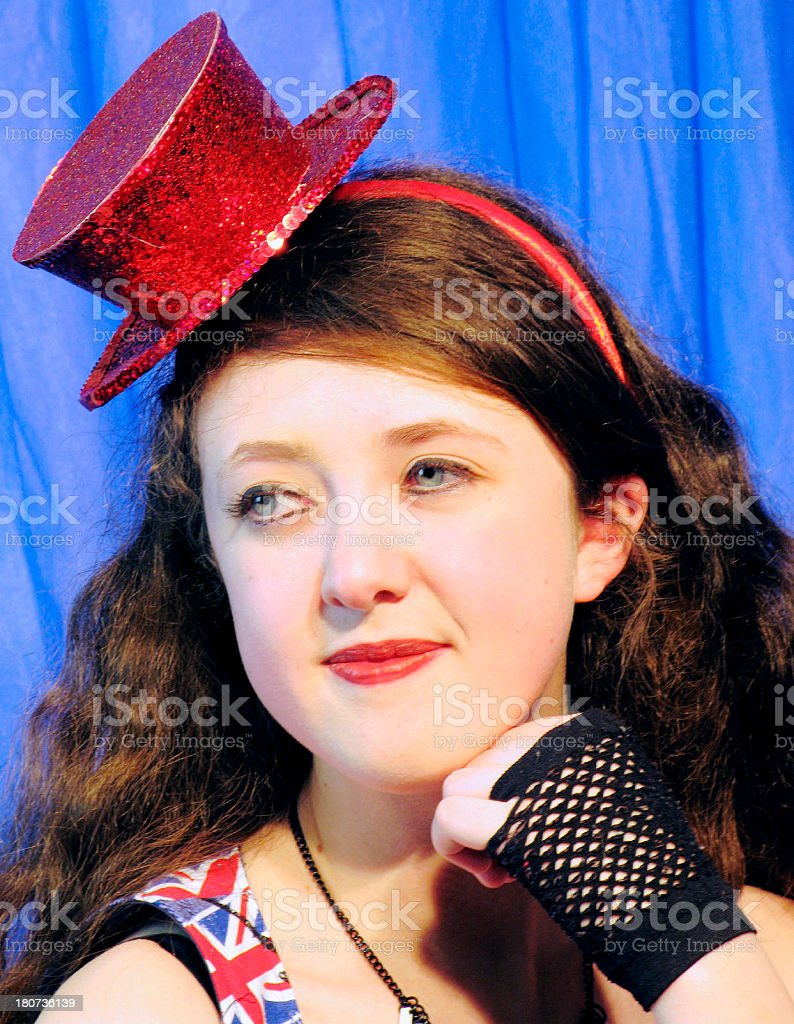 Dancer Wearing Red Top Hat stock photo