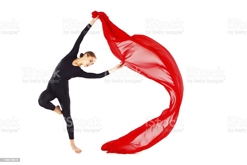 Dancer with a red veil royalty-free stock photo