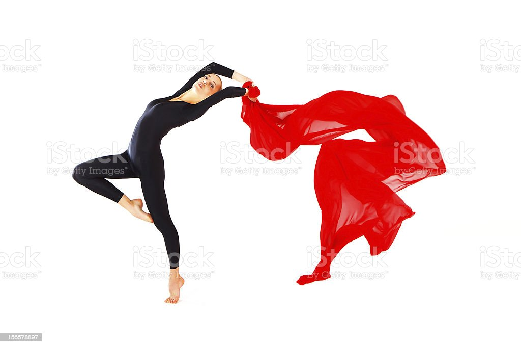 Dancer with a red veil stock photo