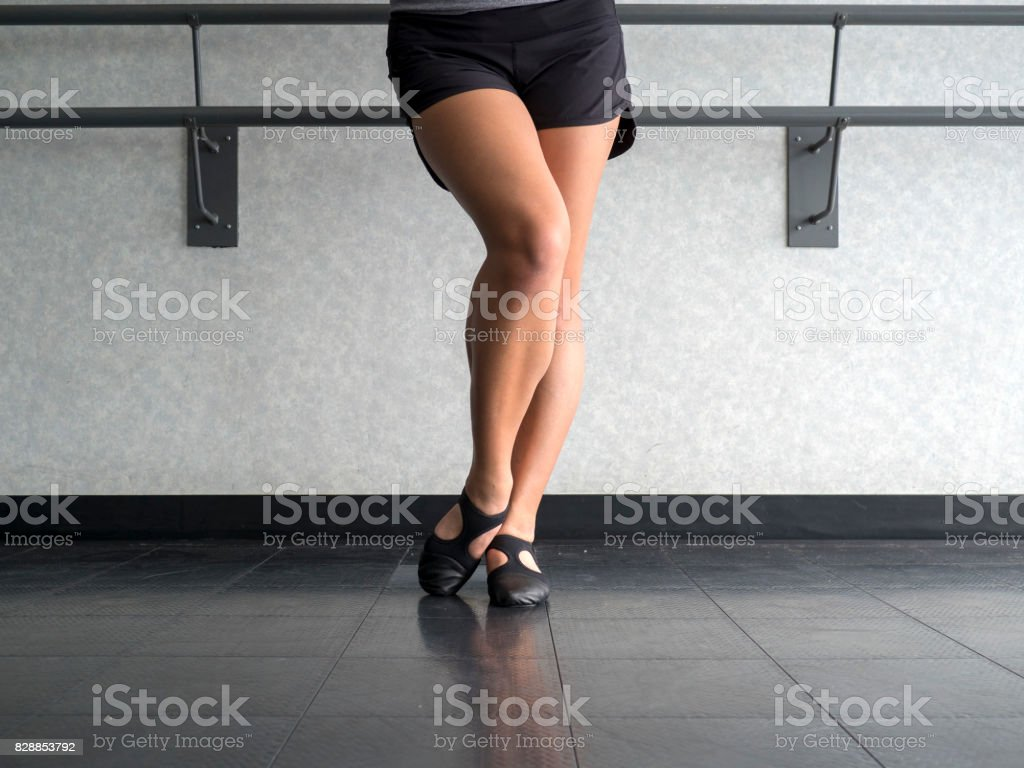 Dancer with Bevelled foot in Jazz dig position stock photo