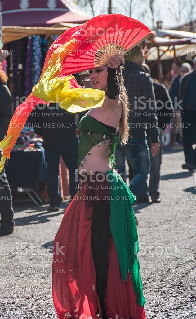 Dancer with fan stock photo