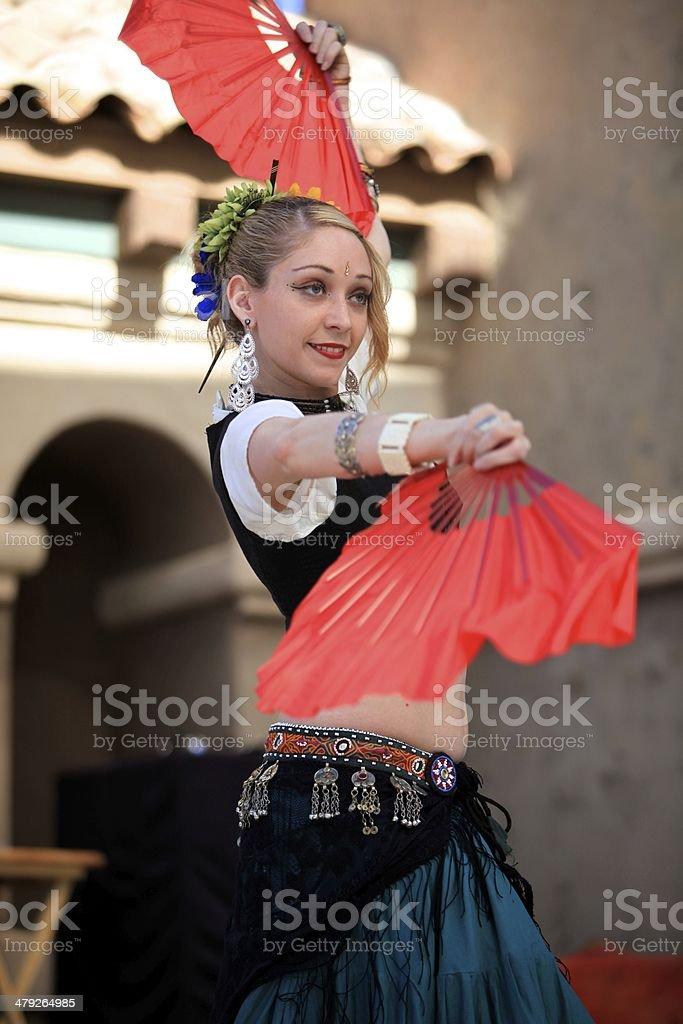 Ballerina con ventole foto stock royalty-free