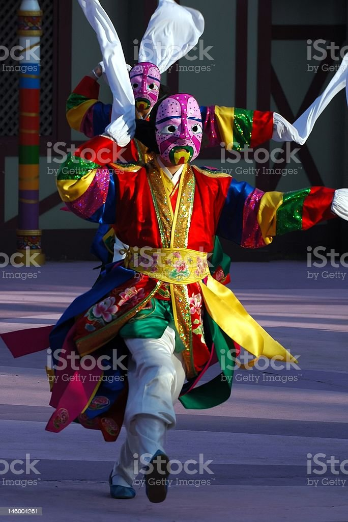 Dancer with pink mask royalty-free stock photo