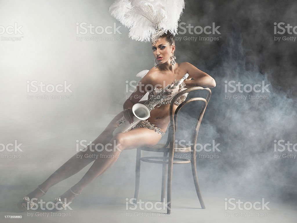 Dancer with saxophone stock photo